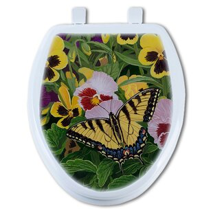 TGC Artisans Seats Butterfly and Pansy Elongated Toilet Seat