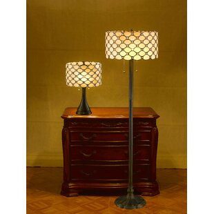 Serena D'Italia Tiffany Contemporary 2 Piece Table and Floor Lamp Set