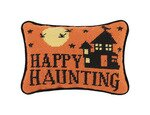 Happy Haunting Needlepoint Wool Lumbar Pillow