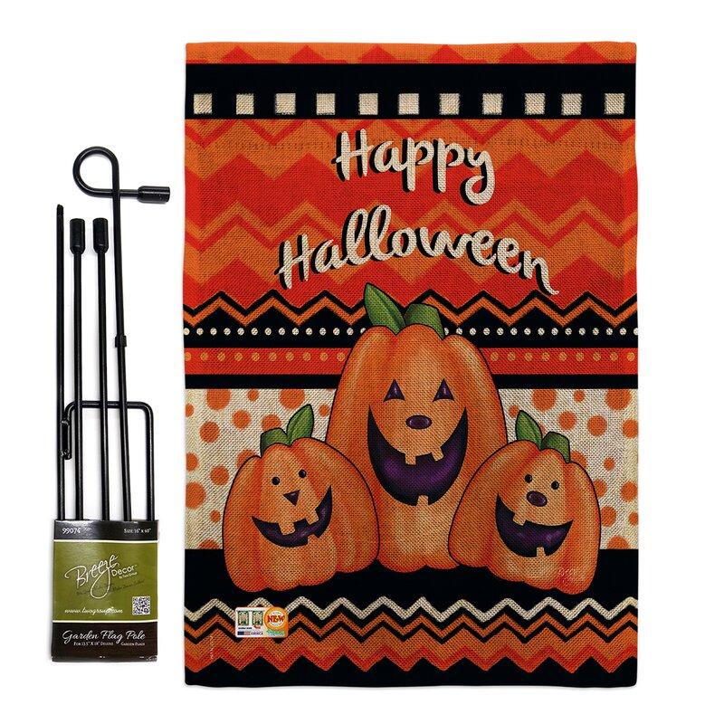 Breeze Decor Halloween Trio Fall Impressions 2 Sided Polyester 18 5 X 13 In Flag Set Wayfair