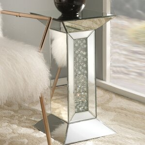 Bladwell Mirrored Pedestal End Table by Rosd..