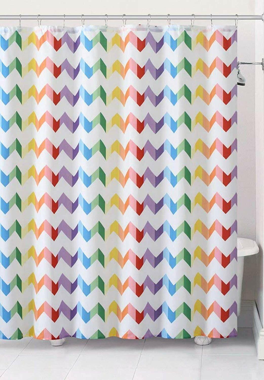 Felicia Rainbow Chevron Fabric Single Shower Curtain