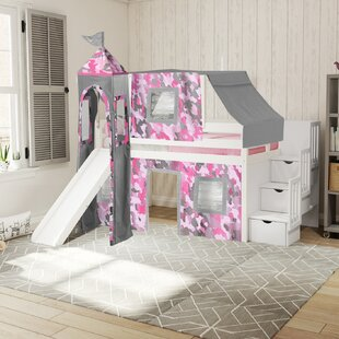 Johannes Castle Stairway Twin Low Loft Bed with Slide