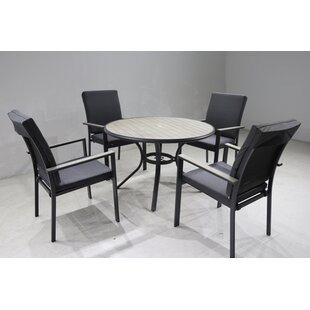 VanVleet 4 Seater Dining Set With Cushions And Parasol By Sol 72 Outdoor