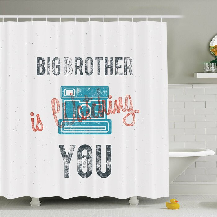 Vintage, Half Toned Big Brother Quote with Old-Fashion Analogue Camera Icon  Web Print Shower Curtain Set