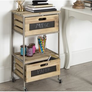 Gracie Oaks Scarlet 2 Drawer Farmhouse Bar Cart