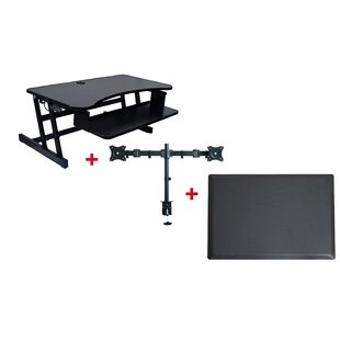 Cheverton DADR Height Adjustable Sit to Standing Desk Riser and Converter 37 Black with Dual Monitor Mount and Anti Fatigue Mat