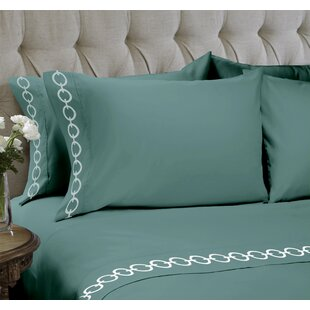 Chain Embroidered 4 Piece Sheet Set