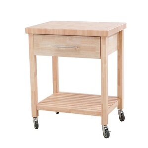 Thissell All Rubber Wood Kitchen Cart by Loon Peak