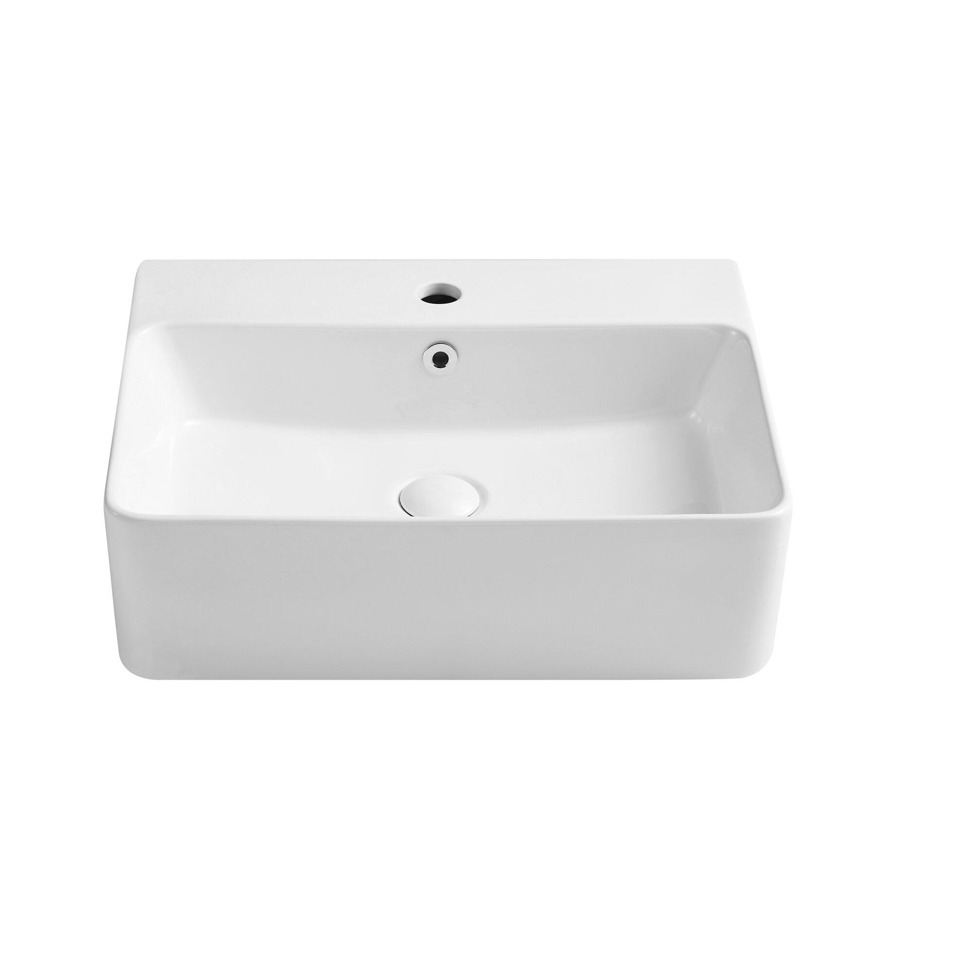 Eridanus White Ceramic Rectangular Wall Mount Bathroom Sink With Overflow Wayfair