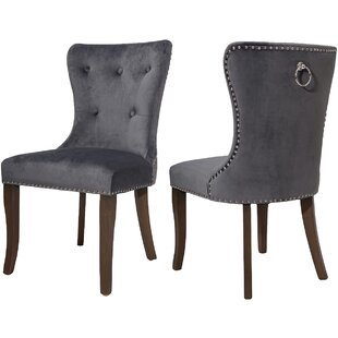 Doyon Tufted Linen Upholstered Parsons Chair in Gray Set of 2 by Rosdorf Park