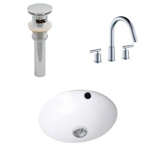 Ceramic Circular Undermount Bathroom Sink with Faucet and Overflow By American Imaginations