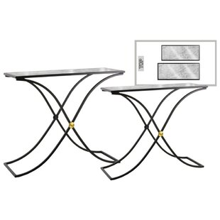 Rivero Wavy Rectangular 2 Piece Console Table Set with Marble Top