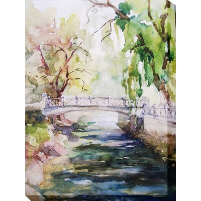 West of the Wind Outdoor Canvas Art All Weather 'Tranquil Stream' Painting Print on Wrapped Canvas