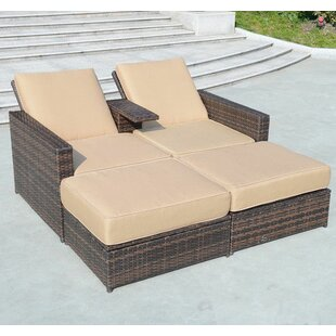 Marvelous 4 Piece Double Chaise Lounge With Cushion Good Looking