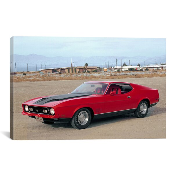 Ford Mustang Muscle Car Sunset Desert Landscape Art Poster Canvas Pictures