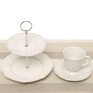 Fleur De Lis 5 Piece Tea Setting, Service for 2