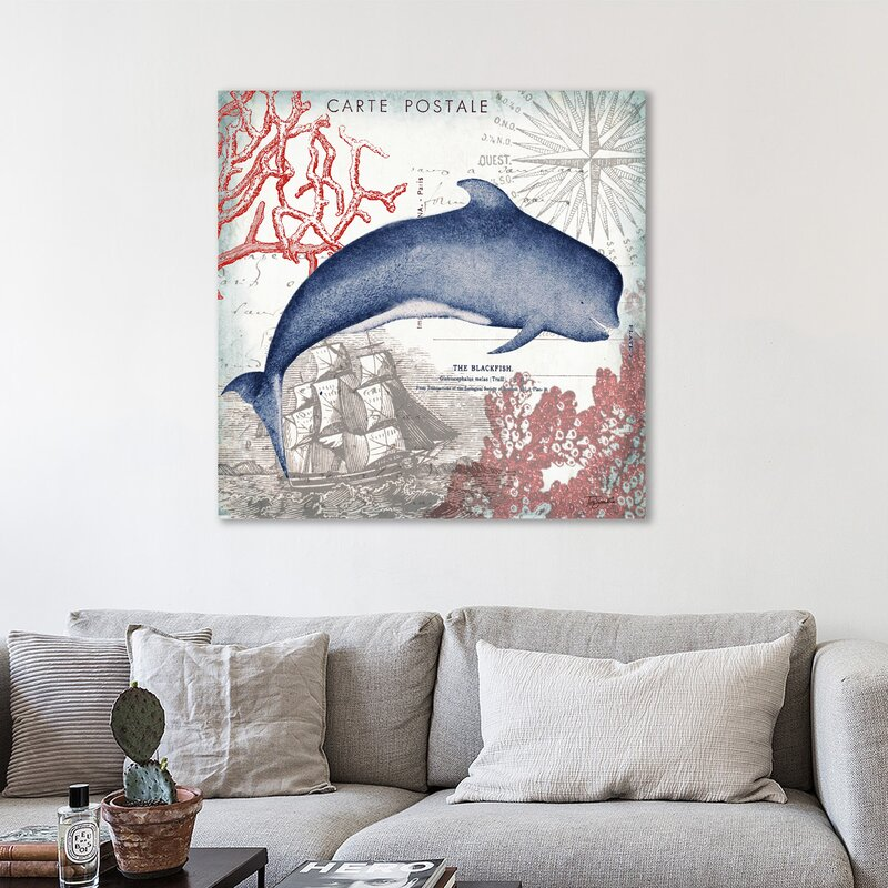 Breakwater Bay Seaside Postcard Whale Graphic Art Print On Wrapped Canvas Wayfair