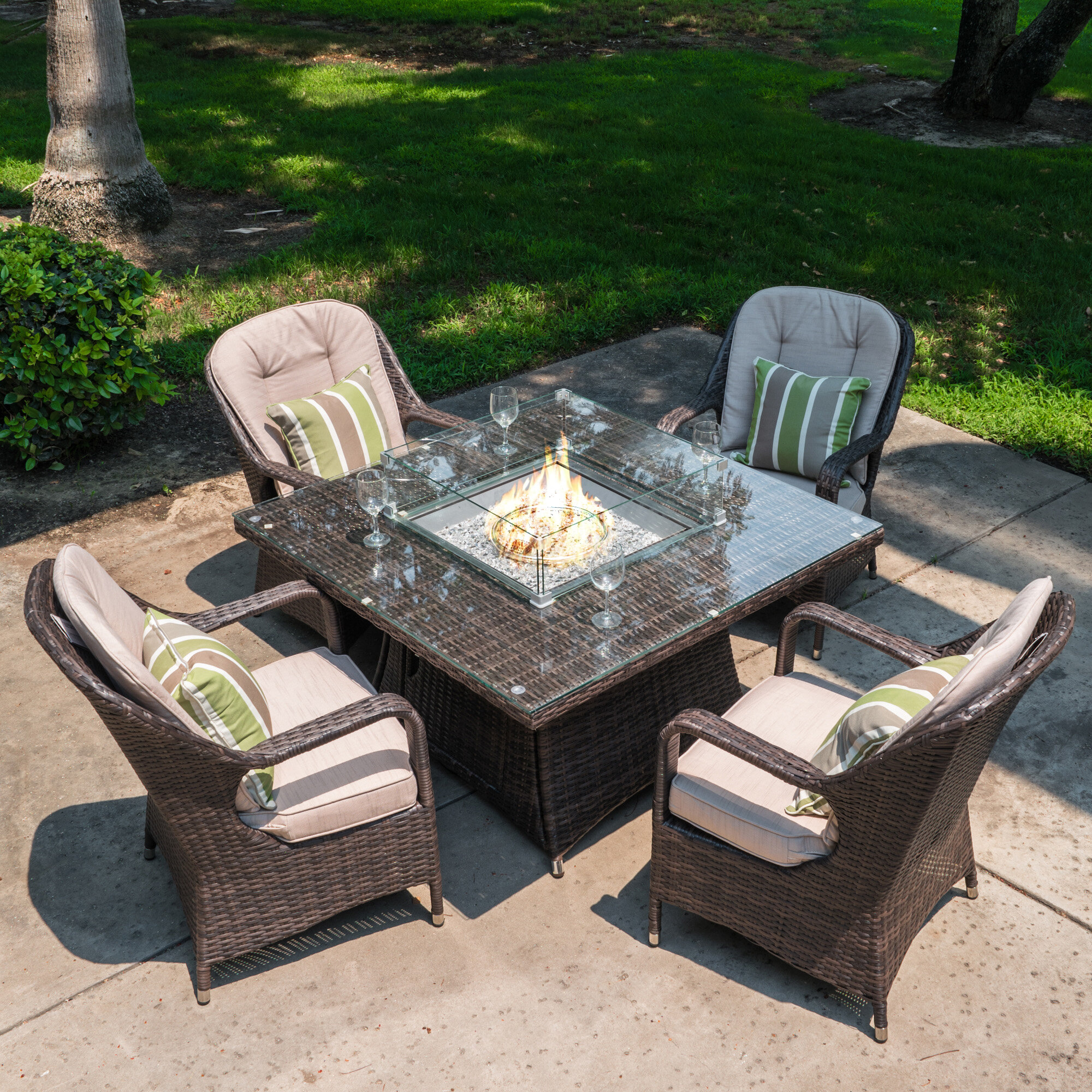 Image of: Darby Home Co Carnforth 5 Piece Dining Set With Cushions And Firepit Wayfair