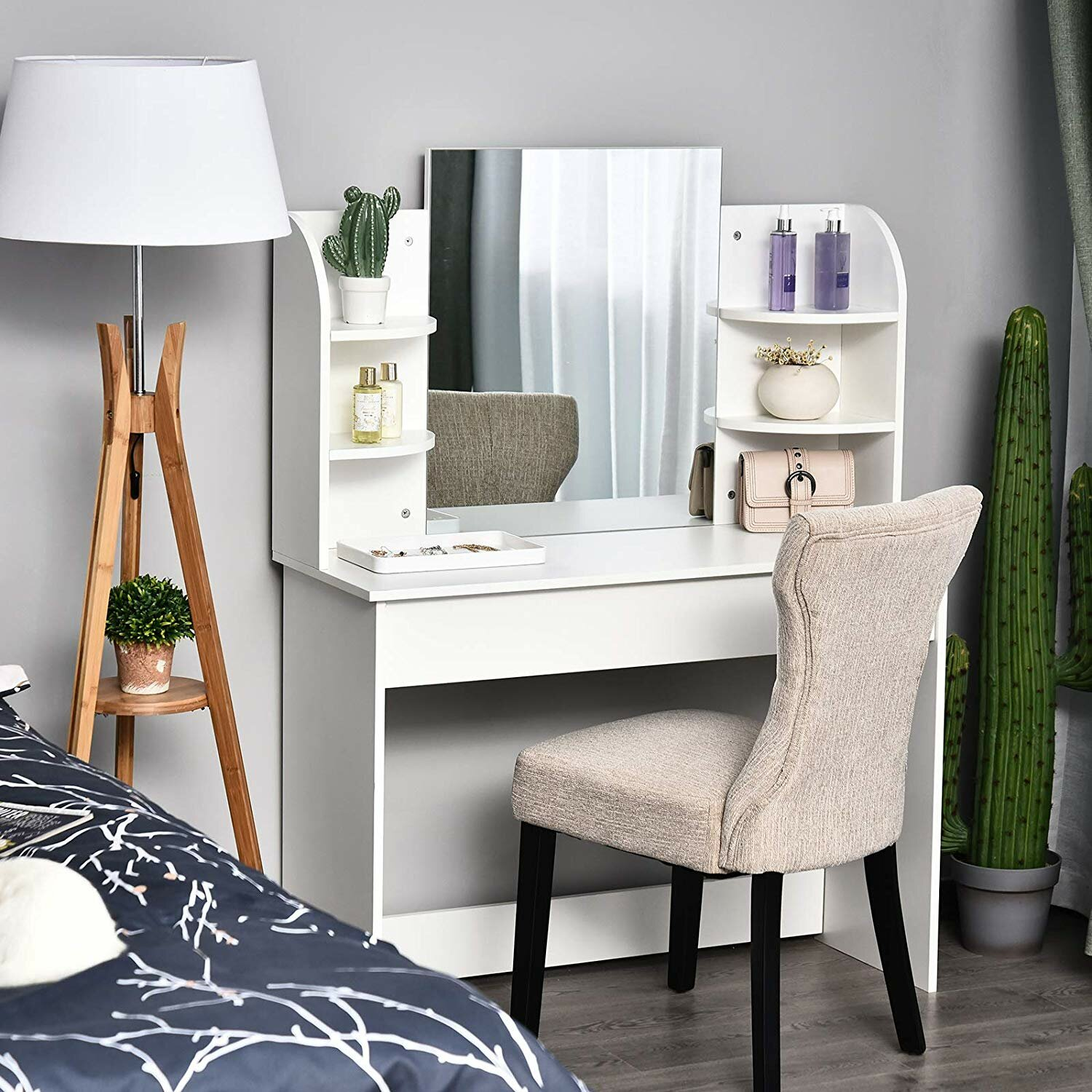 Ebern Designs Hartz Dressing Table With Mirror Reviews Wayfair Co Uk