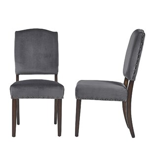 Pompon Velvet Nailhead Upholstered Dining Chair (Set of 2)