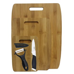 6 Piece Bamboo Ceramic Cutting Board Set