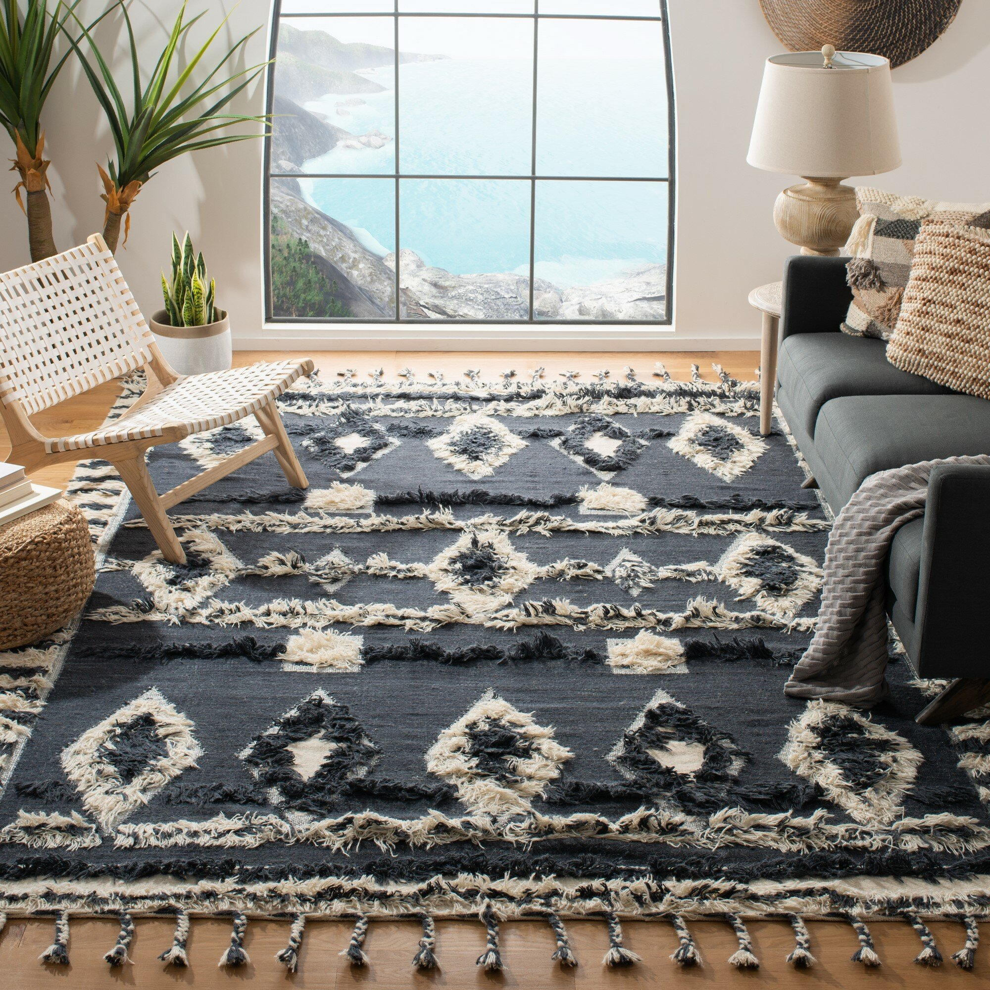 Aten Hand Knotted Wool Cotton Charcoal Area Rug Reviews Allmodern