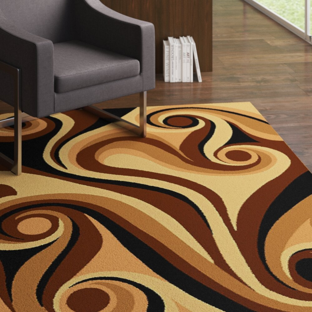 Ebern Designs Wargo Abstract Chocolate Area Rug Wayfair