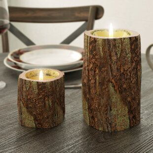 Led Bark Pillar Candle (Set of 2)