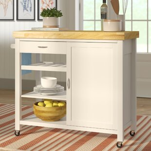 Beachcrest Home Lake Hamilton Kitchen Island with Wood Top