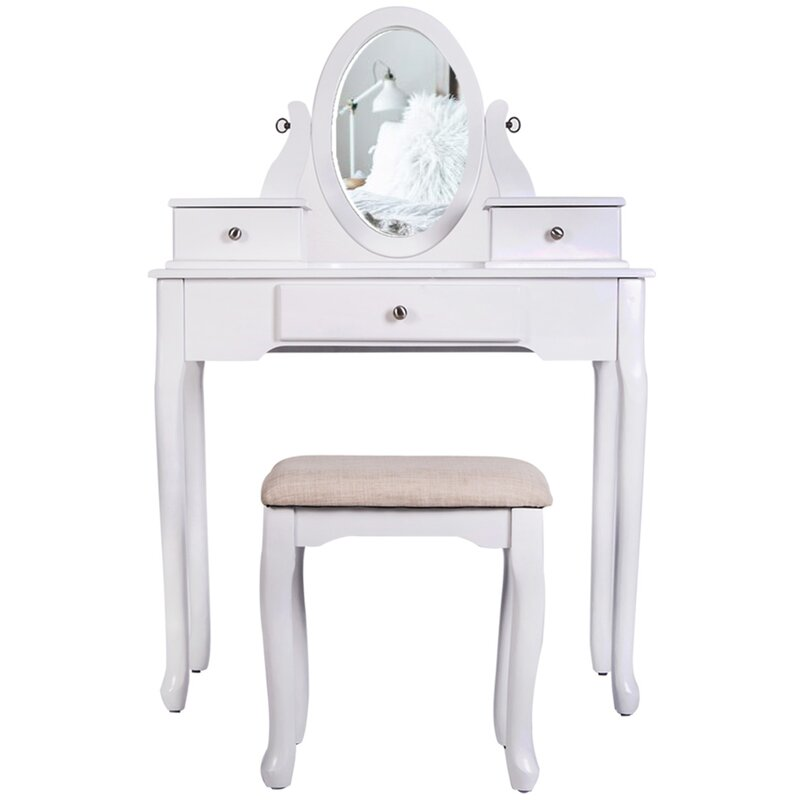 Charlton Home Gila Solid Wood Vanity Set With Stool And Mirror Wayfair