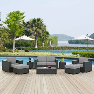 Leda 8 Piece Rattan Sunbrella Sectional Seating Group with Cushions