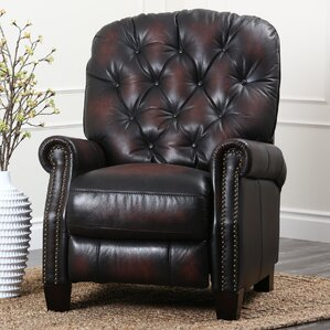 Barnesville Leather Manual Glider Recliner : left handed recliner - islam-shia.org