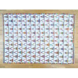 One-of-a-Kind Jamieson Handmade Kilim 9'10 x 14' Wool White Area Rug Isabelline