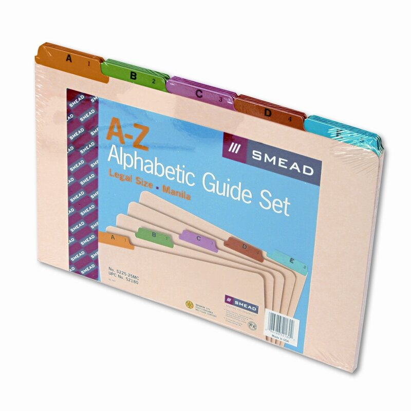 Smead Alpha Recycled Top Tab Guides 25 Set Reviews Wayfair