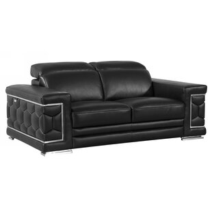 Shop Hawkesbury Common Leather Loveseat by Orren Ellis
