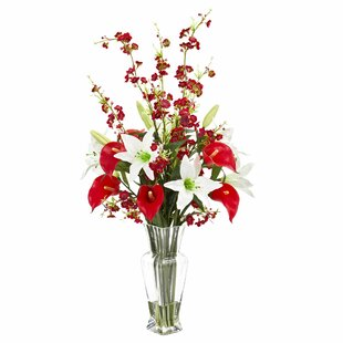 Artificial Calla Lily and Cherry Blossom Floral Arrangement in Decorative Vase