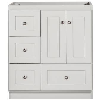 Kohler Damask 30 Vanity Base Only With Toe Kick 1 Door And 3 Drawers On Left Wayfair