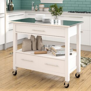 Monongah Rectangular Kitchen Cart with Stainless Steel Top Latitude Run