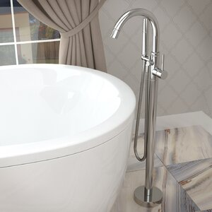 Double Handle Floor Mounted Claw Foot Bathtub Faucet with Hand Shower