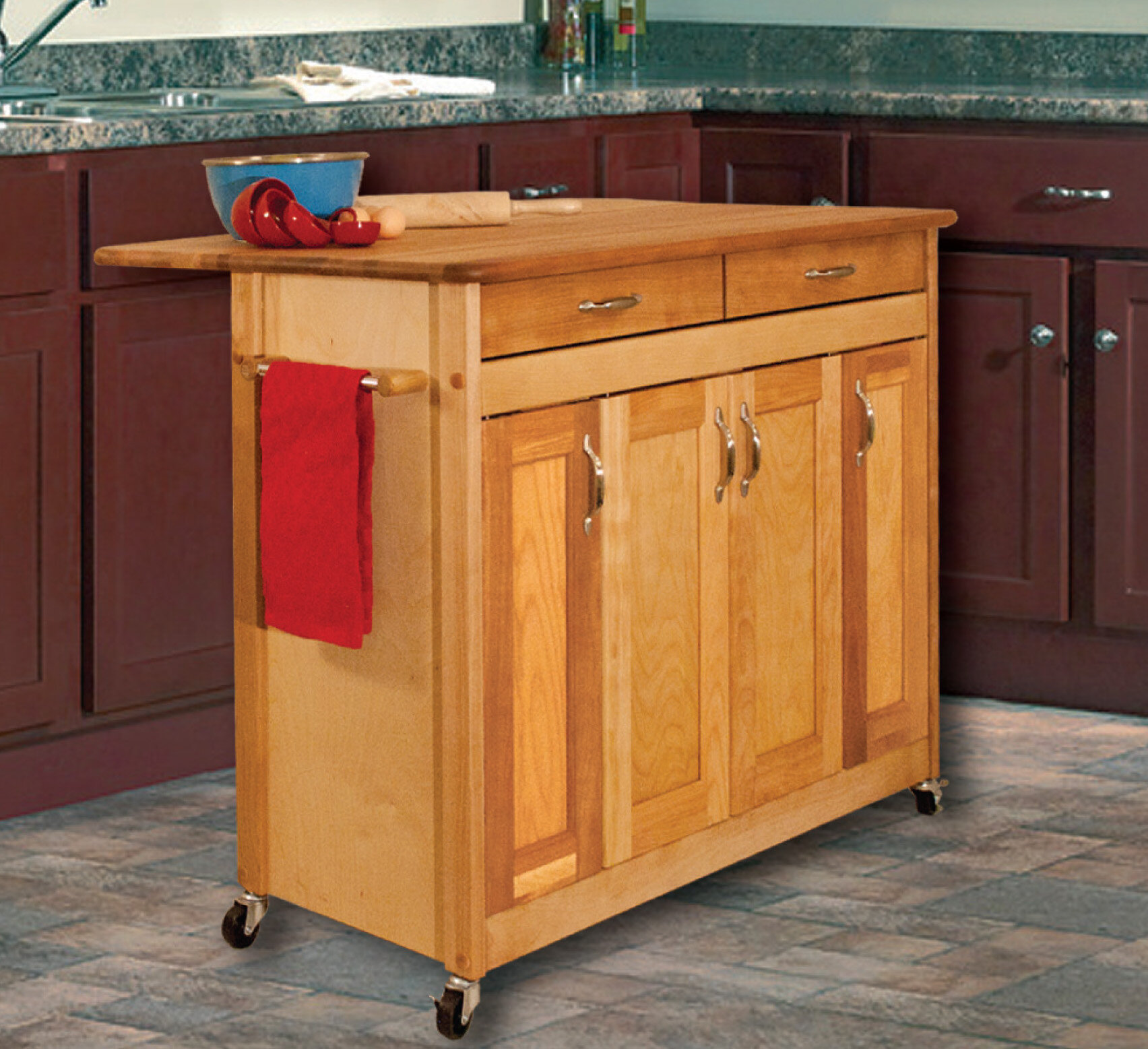 Catskill Craftsmen Kitchen Island with Wood Top & Reviews ...