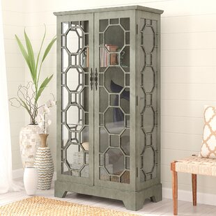 Mason 2 Door Painted Glass Curio with Fretwork Cabinet By Rosecliff Heights