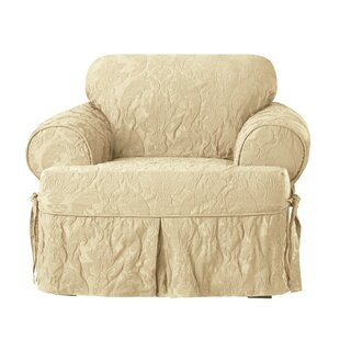 Matelasse Damask T-Cushion Armchair Slipcover