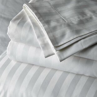 Delossantos 300 Thread Count Striped 100% Cotton Sateen Sheet Set