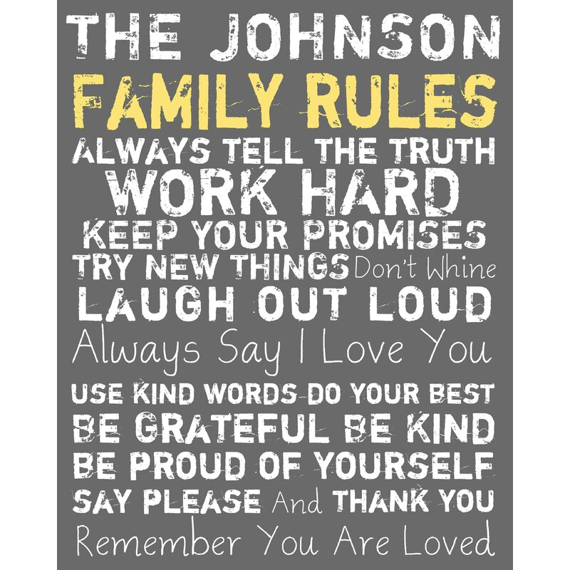 Ptm Personalized Family Rules Picture Frame Textual Art Print On Canvas Wayfair