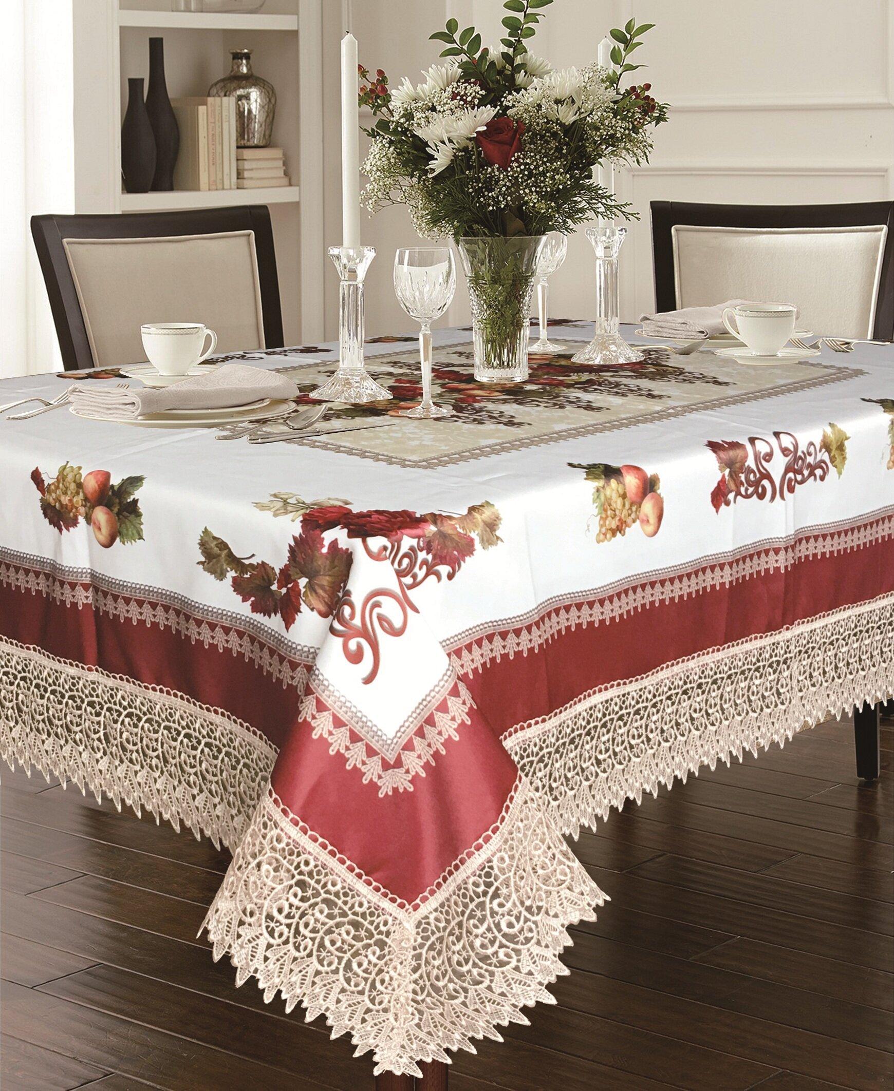 Fleur De Lis Living Akins Tablecloth With Lace Trimming U0026 Reviews | Wayfair