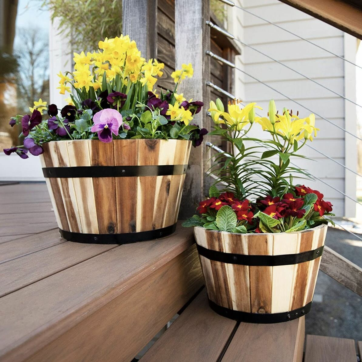 Gracie Oaks Pierrette 2 Piece Wood Pot Planter Set Wayfair