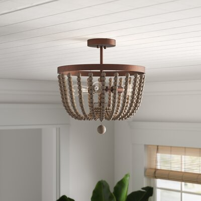 Bay Isle Home Tilden Wood Bead 3 Light Semi Flush Mount