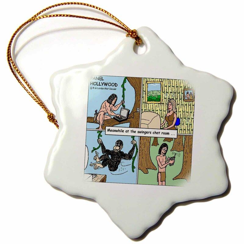 3dRose Tarzan In Swingers Chatroom Snowflakes Ornament