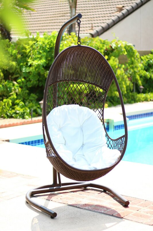 alpine pe wicker swing chair with stand alpine alpine pe wicker swing chair with stand  u0026 reviews   wayfair  rh   wayfair